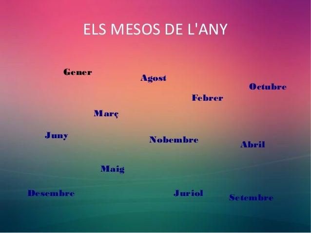 ELS MESOS DE L'ANY Gener Febrer Març Abril Maig Juny Juriol Agost Setembre Octubre Nobembre Desembre