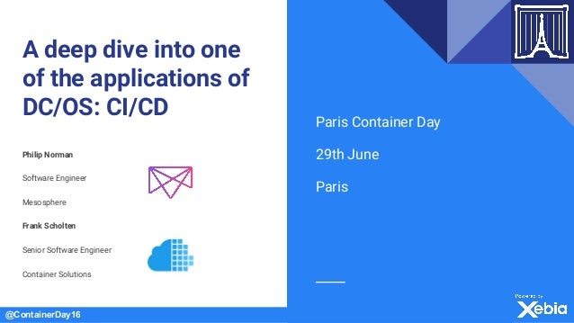@ContainerDay16 A deep dive into one of the applications of DC/OS: CI/CD Philip Norman Software Engineer Mesosphere Frank ...