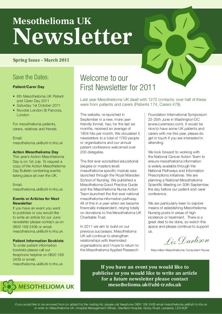 Mesothelioma UKNewsletterSpring Issue - March 2011Save the Dates:                                 Welcome to ourPatient/Ca...