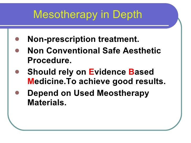 Mesotherapy in dermatology 19 may 2010