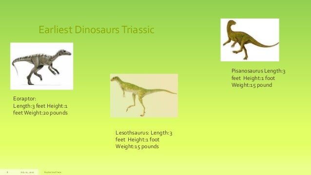 Earliest DinosaursTriassicJuly 22, 2012 Footer text here8Eoraptor:Length:3 feet Height:1feetWeight:20 poundsLesothsaurus: ...