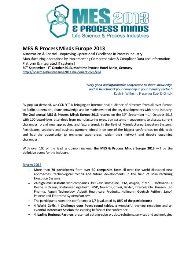 MES & Process Minds Europe 2013Automation & Control - Improving Operational Excellence in Process IndustryManufacturing op...
