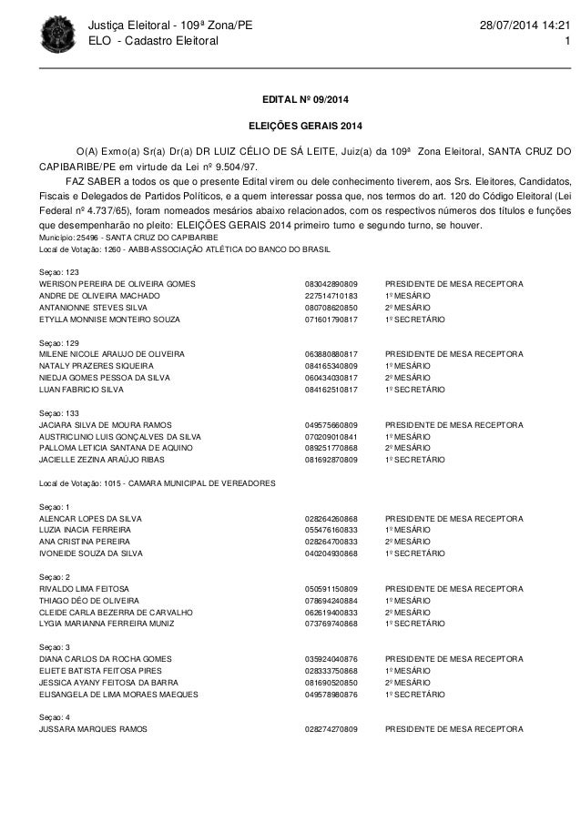 Justiça Eleitoral - 109ª Zona/PE  ELO - Cadastro Eleitoral  EDITAL Nº 09/2014  ELEIÇÕES GERAIS 2014  28/07/2014 14:21  O(A...