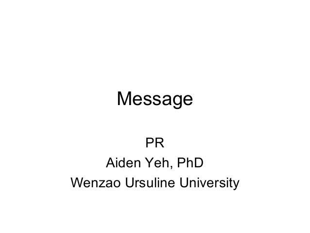 Message PR Aiden Yeh, PhD Wenzao Ursuline University