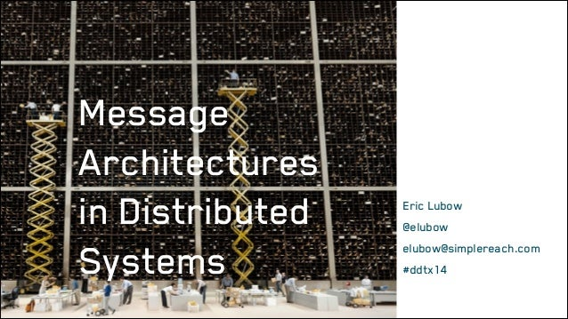 Message Architectures in Distributed Systems  Eric Lubow @elubow elubow@simplereach.com #ddtx14
