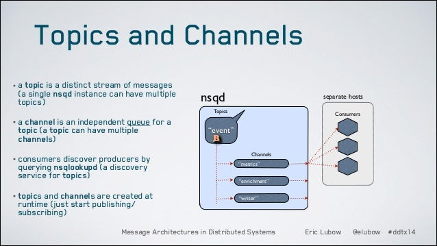 Topics and Channels • a topic is a distinct stream of messages  (a single nsqd instance can have multiple topics)  nsqd  s...