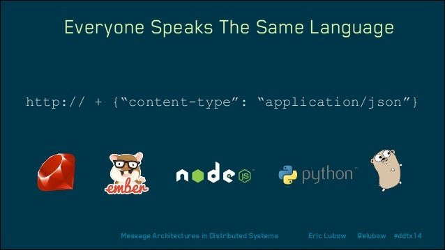 """Everyone Speaks The Same Language  http:// + {""""content-type"""": """"application/json""""}  Message Architectures in Distributed Sy..."""