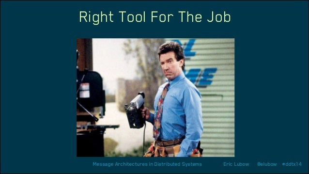 Right Tool For The Job  Message Architectures in Distributed Systems  Eric Lubow  @elubow #ddtx14