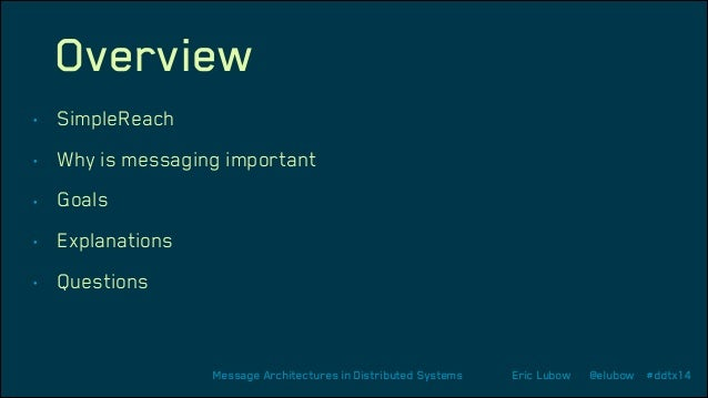Overview •  SimpleReach  •  Why is messaging important  •  Goals  •  Explanations  •  Questions  Message Architectures in ...