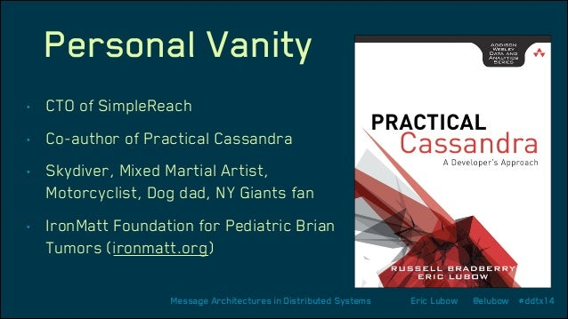 Personal Vanity •  CTO of SimpleReach  •  Co-author of Practical Cassandra  •  Skydiver, Mixed Martial Artist, Motorcyclis...
