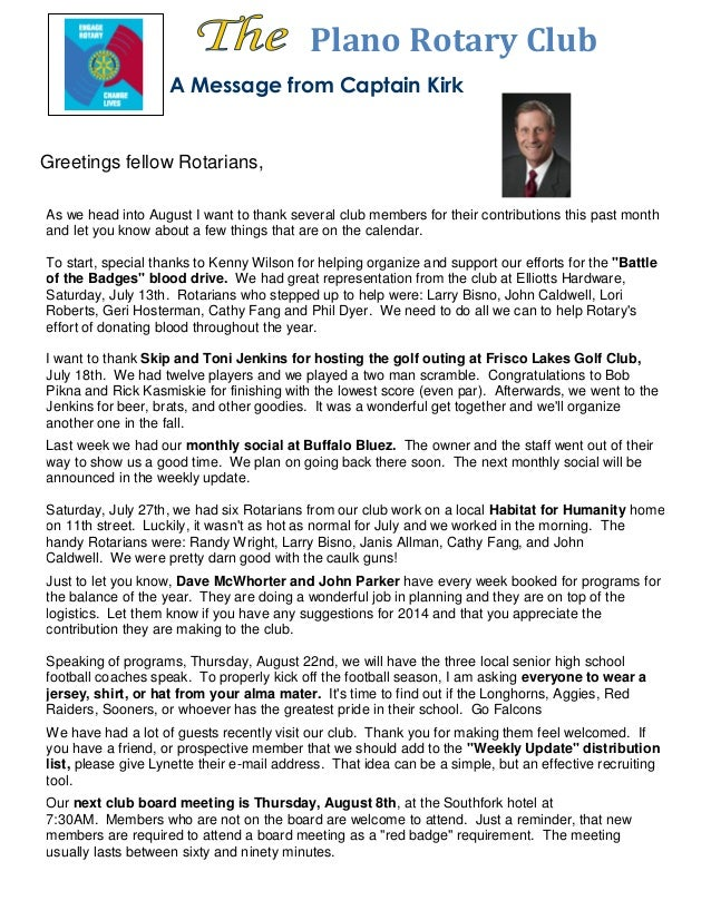 Plano Rotary Club A Message from Captain Kirk As we head into August I want to thank several club members for their contri...