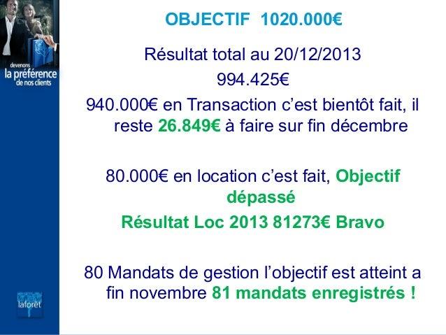 OBJECTIF 1020.000€ Résultat total au 20/12/2013 994.425€ 940.000€ en Transaction c'est bientôt fait, il reste 26.849€ à fa...