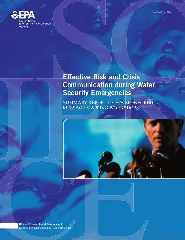 EPA/600/R-07/027                                   Effective Risk and Crisis                                   Communicati...