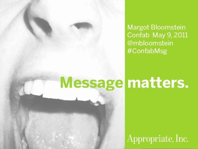 #ConfabMsg | @mbloomstein 1 © 2011© 2011 Margot Bloomstein Confab May 9, 2011 @mbloomstein #ConfabMsg Message matters.