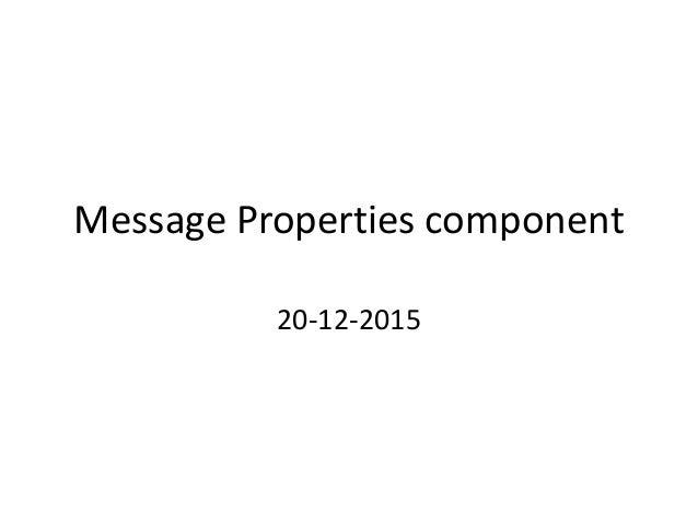 Message Properties component 20-12-2015