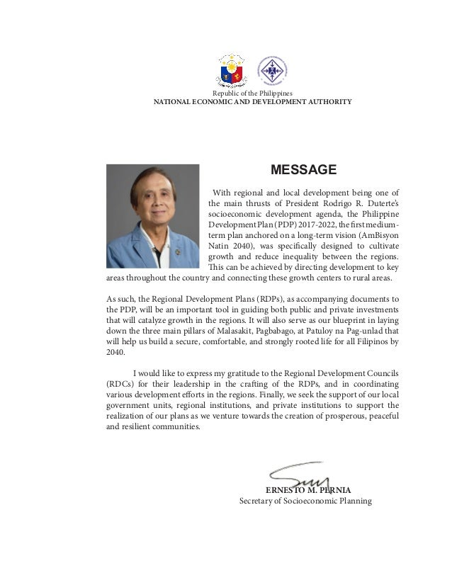 MESSAGE 	With regional and local development being one of the main thrusts of President Rodrigo R. Duterte's socioeconomic...