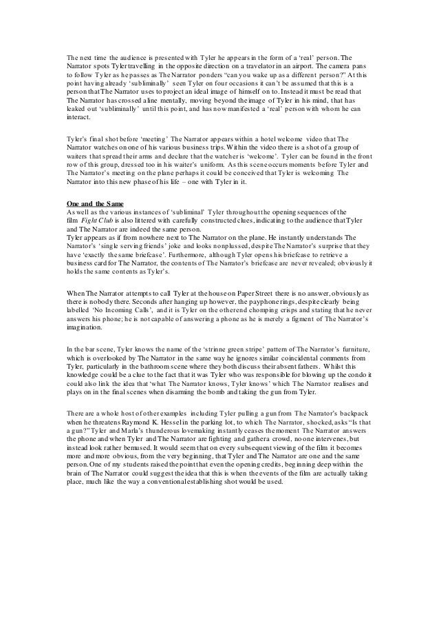 College essays on fight club