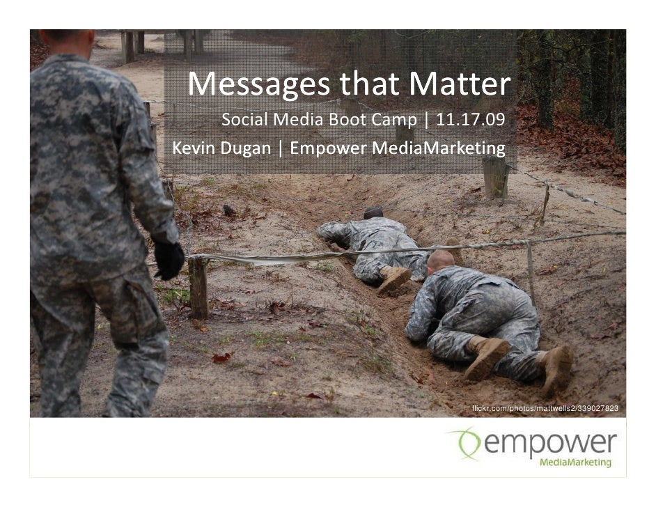 Messages that Matter       Social Media Boot Camp | 11.17.09 Kevin Dugan | Empower MediaMarketing                         ...
