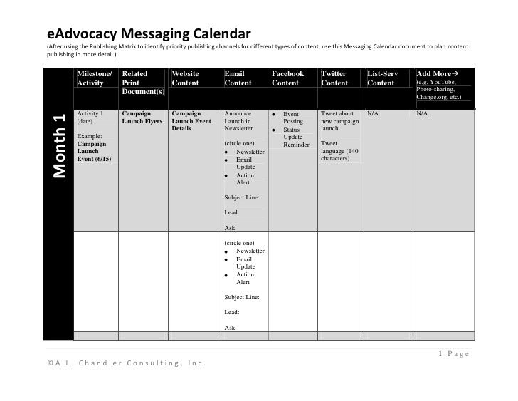 eAdvocacy Messaging Calendar(After using the Publishing Matrix to identify priority publishing channels for different type...