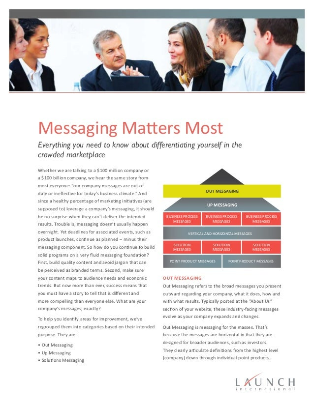 Messaging Matters Most Everything you need to know about differentiating yourself in the crowded marketplace Whether we ar...