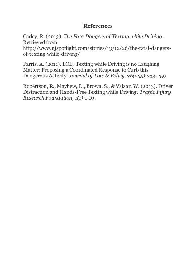 Research Proposal Texting While Driving Final Paper
