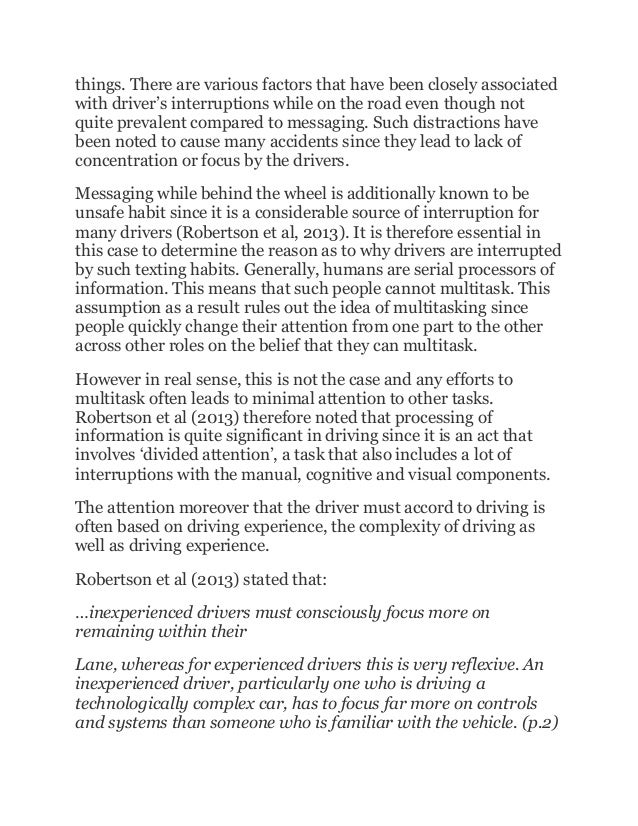 texting while driving essays