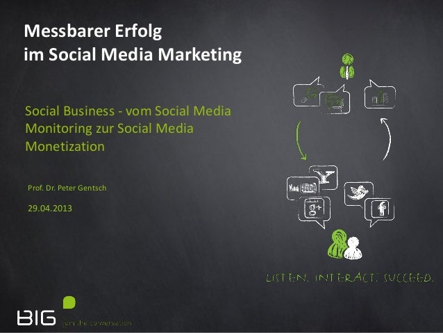 Prof. Dr. Peter Gentsch29.04.2013Messbarer Erfolgim Social Media MarketingSocial Business - vom Social MediaMonitoring zur...