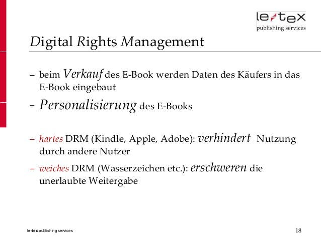 Digital Rights Management – beim Verkauf des E-Book werden Daten des Käufers in das   E-Book eingebaut =     Personalisier...