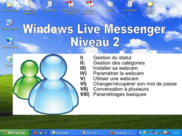 Windows Live Messenger Niveau 2 I) Gestion du statut II ) Gestion des catégories III) Installer sa webcam IV)   Paramétrer...