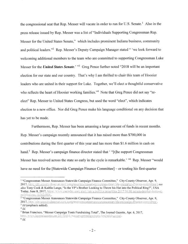 Progressive Group Files Complaint in Indiana U.S. Senate Race Slide 2