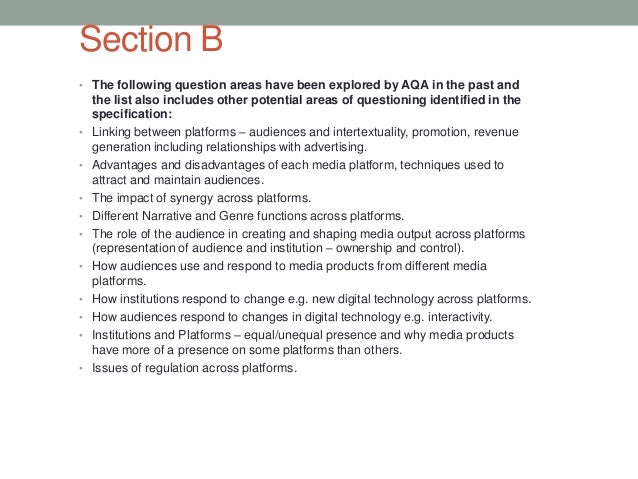 Section B • The following question areas have been explored by AQA in the past and  • • • • • • • • • •  the list also inc...