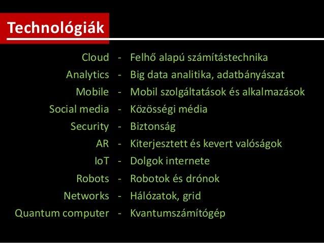Technológiák Cloud - Felhő alapú számítástechnika Analytics - Big data analitika, adatbányászat Mobile - Mobil szolgáltatá...