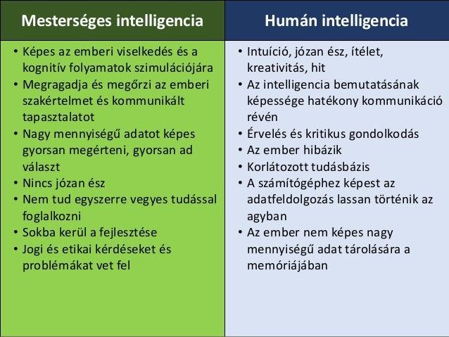 Mesterséges intelligencia Humán intelligencia • Képes az emberi viselkedés és a kognitív folyamatok szimulációjára • Megra...