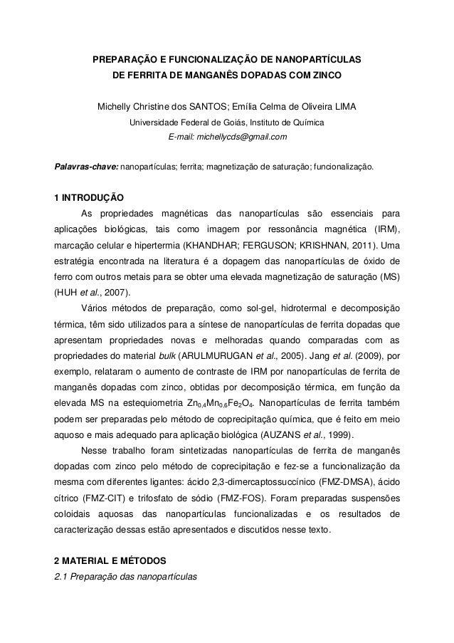 PREPARAÇÃO E FUNCIONALIZAÇÃO DE NANOPARTÍCULAS DE FERRITA DE MANGANÊS DOPADAS COM ZINCO Michelly Christine dos SANTOS; Emí...