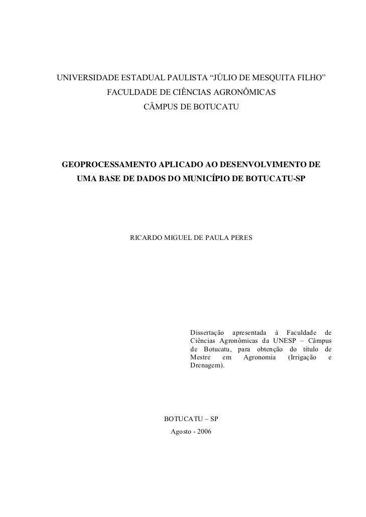 """UNIVERSIDADE ESTADUAL PAULISTA """"JÚLIO DE MESQUITA FILHO""""          FACULDADE DE CIÊNCIAS AGRONÔMICAS                  CÂMPU..."""