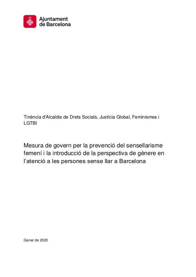 Tinència d'Alcaldia de Drets Socials, Justícia Global, Feminismes i LGTBI Mesura de govern per la prevenció del sensellari...