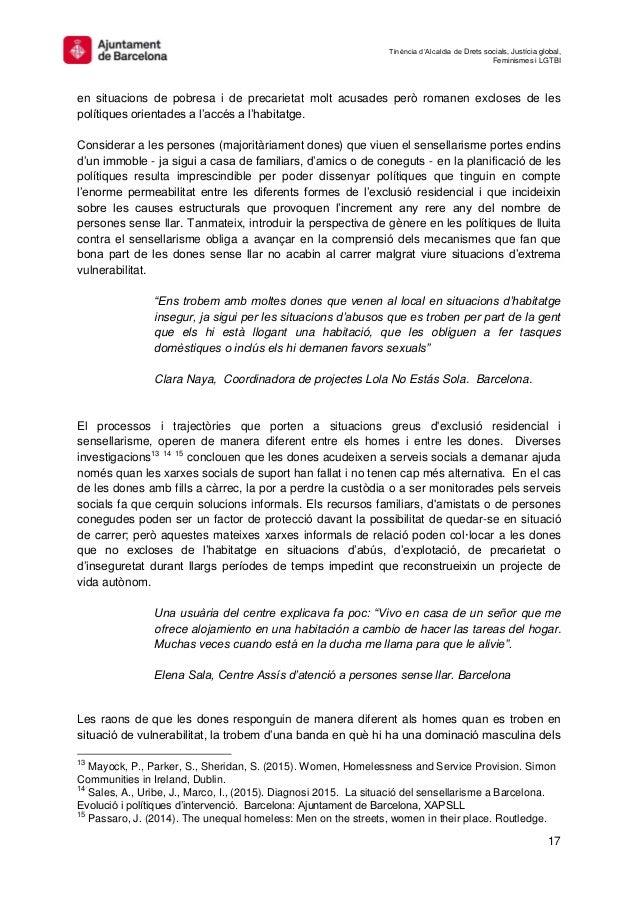 Tinència d'Alcaldia de Drets socials, Justícia global, Feminismes i LGTBI 17 en situacions de pobresa i de precarietat mol...