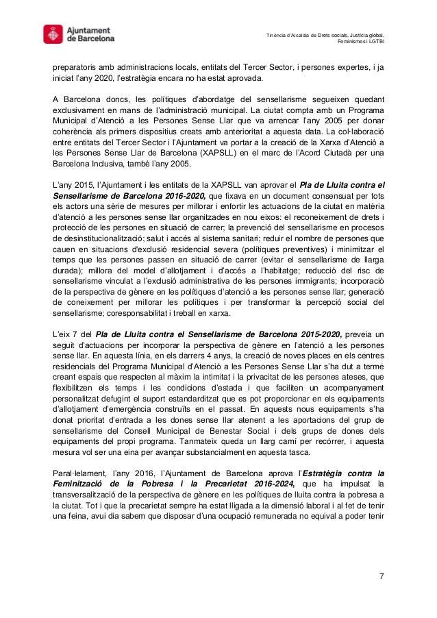 Tinència d'Alcaldia de Drets socials, Justícia global, Feminismes i LGTBI 7 preparatoris amb administracions locals, entit...