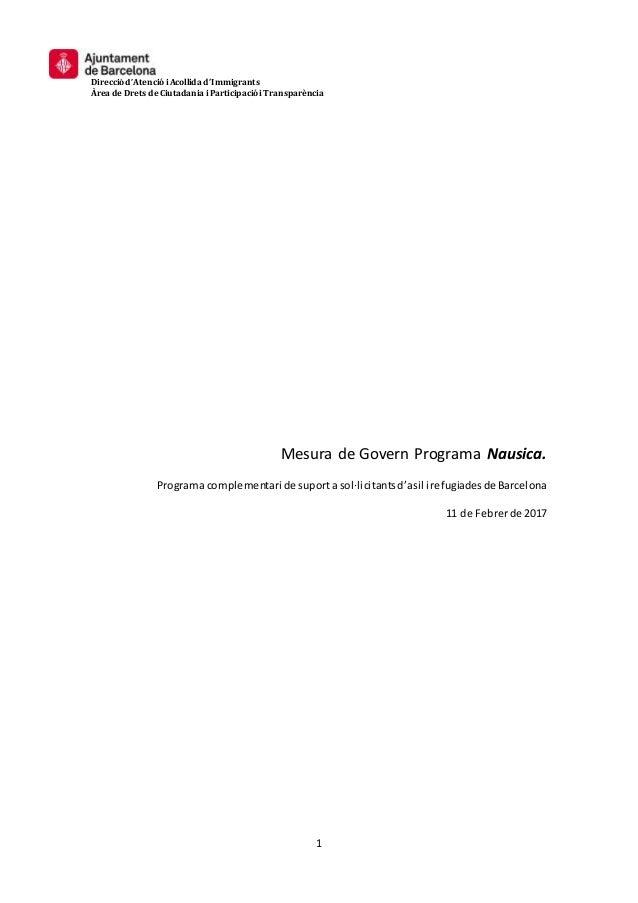 Direcció d'Atenció iAcollida d'Immigrants Àrea de Drets de Ciutadania iParticipació iTransparència 1 Mesura de Govern Prog...