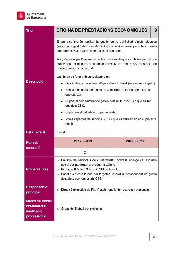 Mesura de govern del projecte impulsem pla d 39 actuaci for Oficina de treball barcelona