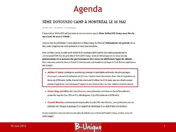 Agenda16 mai 2012            1