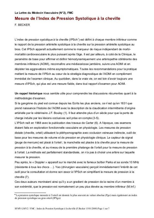 La Lettre du Médecin Vasculaire (N°2), FMC Mesure de l'Index de Pression Systolique à la cheville F. BECKER L'index de pre...