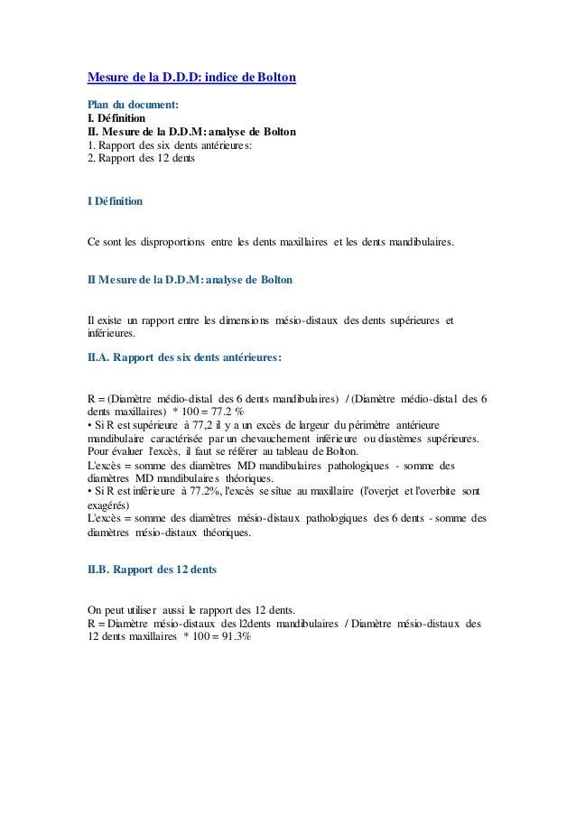 Mesure de la D.D.D: indice de Bolton Plan du document: I. Définition II. Mesure de la D.D.M: analyse de Bolton 1. Rapport ...