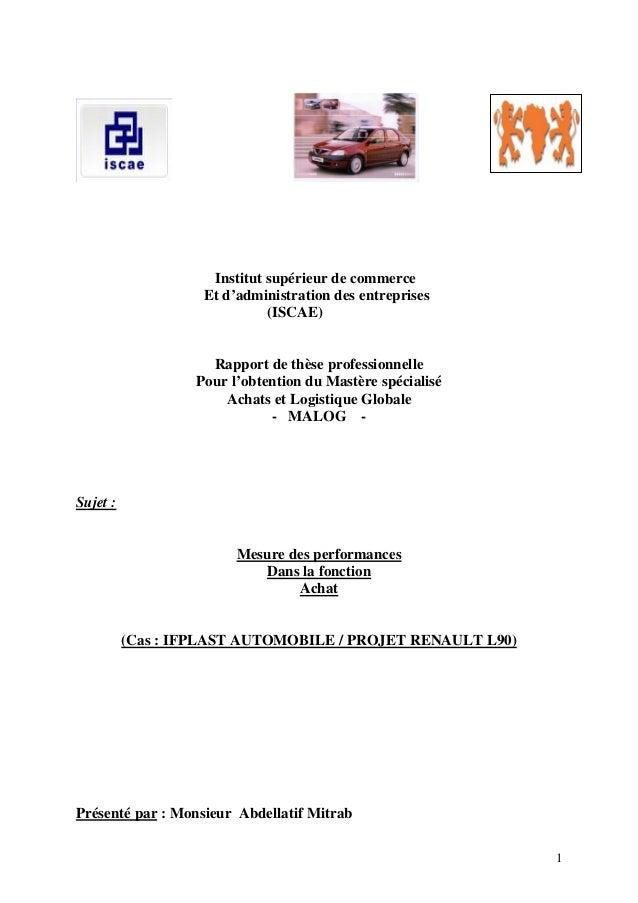 1 Institut supérieur de commerce Et d'administration des entreprises (ISCAE) Rapport de thèse professionnelle Pour l'obten...