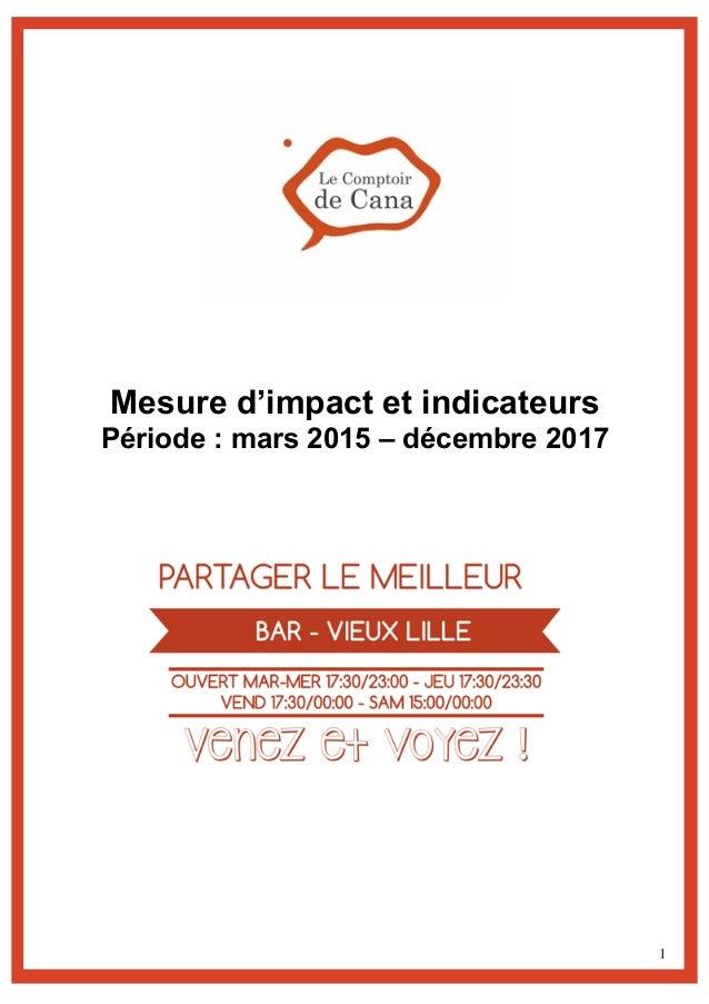 1 Mesure d'impact et indicateurs Période : mars 2015 – décembre 2017