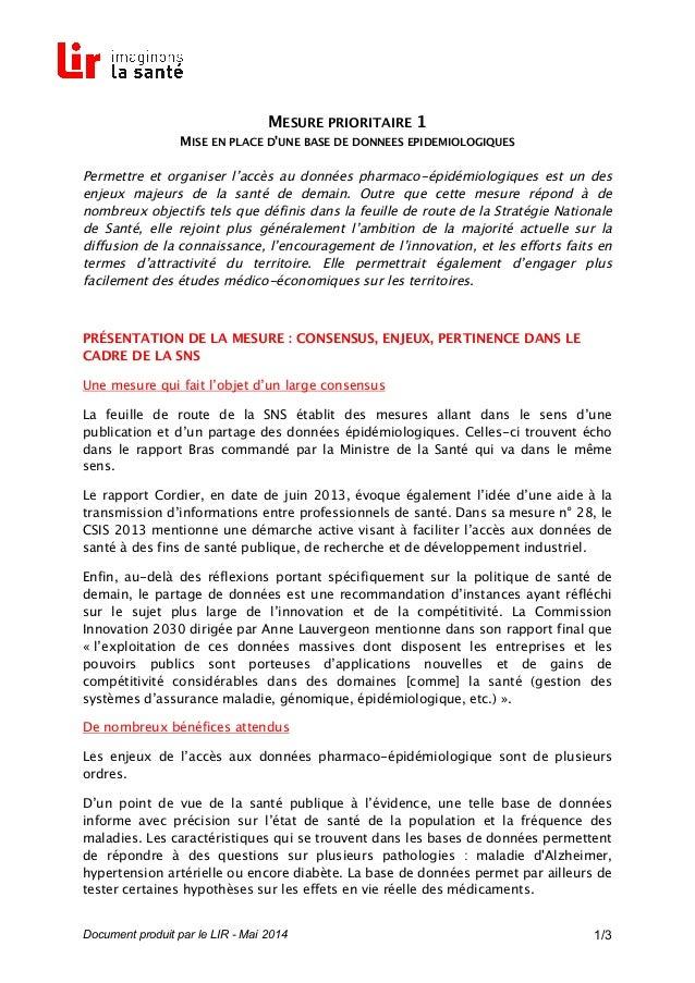 Document produit par le LIR - Mai 2014 1/3 MESURE PRIORITAIRE 1 MISE EN PLACE D'UNE BASE DE DONNEES EPIDEMIOLOGIQUES Perme...