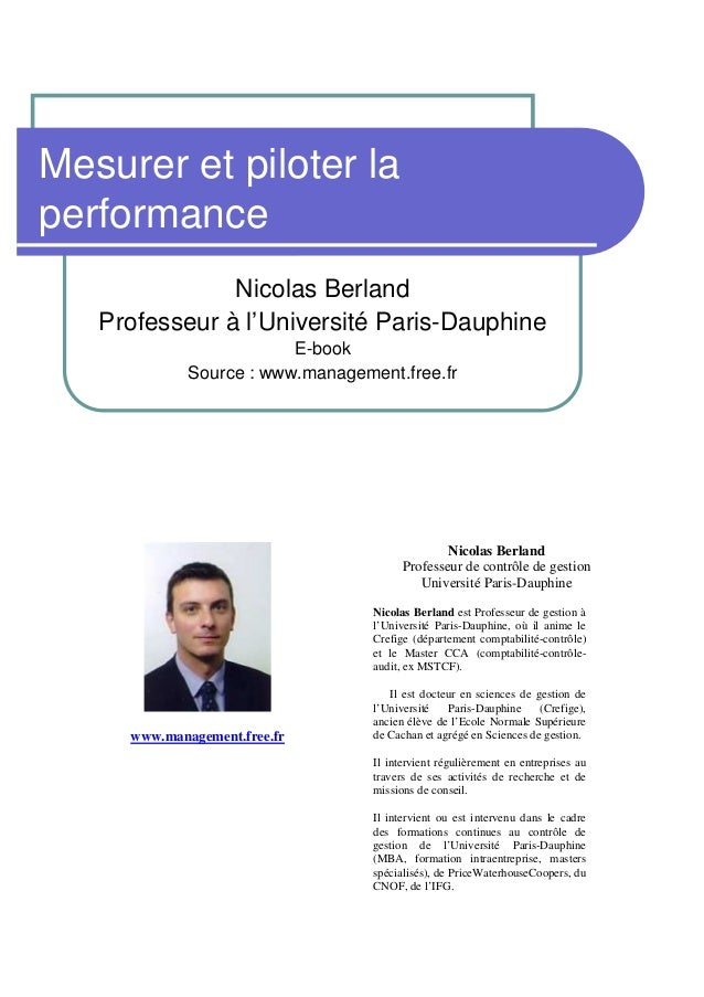 Mesurer et piloter laperformance               Nicolas Berland   Professeur à l'Université Paris-Dauphine                 ...