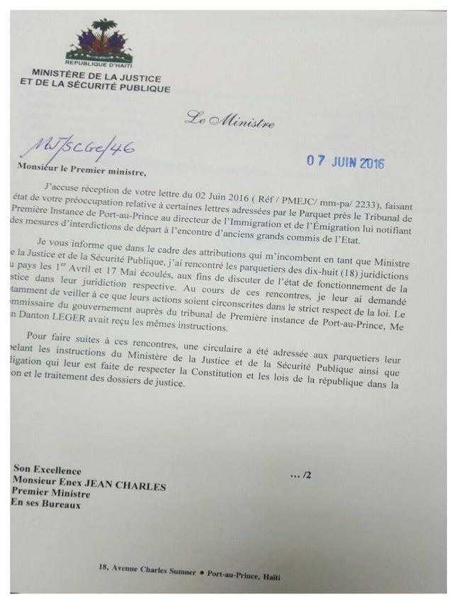 Mesures d interdiction de départ, lettre responsive du ministre de la justice à enex jean.