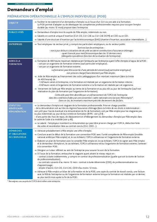 Mesures pour l 39 emploi p le emploi juillet2014 - Formation cuisine collective pole emploi ...