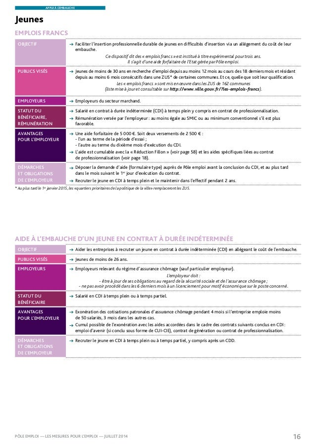 mesures pour l 39 emploi p le emploi juillet2014. Black Bedroom Furniture Sets. Home Design Ideas